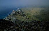 Grande Coulée et Pointe Basse Achipel Crozet ; Vue du haut de la Queue du Dragon (partie occidentale de l'île de la Possession).