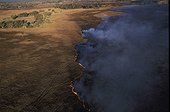 Vue aérienne d'un feu de brousse dans le delta de l'Okavango ; Moremi Game Reserve Botswana. Les feux de brousses spontanés contribuent à la régénération des sols.