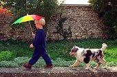 Enfant avec parapluie suivi d'un chiot Berger d'Ecosse