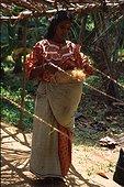 Coconut fibre spinning Kerala India