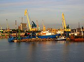Calle dries mobile port of Claipeda Lithuania[AT] ; Estuary on the Baltic[AT]