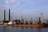 Cargo liner rusted port of Claipeda Lithuania[AT] ; Estuary on the Baltic[AT]