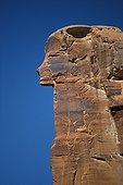 Block of stone in the shape of head of Egyptian god Utah