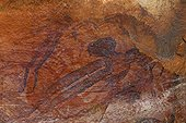 """Cave paintings aboriginals type bradshaw Australia  ; Cave paintings aboriginals standard """"bradshaw"""", object of many studies and assumptions because of their very probable anteriority to the other cave paintings (wandjina,…), and of their very elaborate nature. One of these assumptions allots them to an ethnic group having preceded the aboriginals in this area, or having lived independently. Named name of their discoverer at the end of the 19° century, Joseph Bradshaw. <br>Place: western territory, area of the kimberley."""