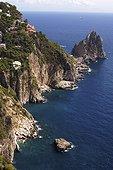 Cliffs of the island of Capri on the Mediterranean Sea Italy
