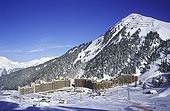 Overall picture of the ski resort of Plagne France ; Catch of sight of a building, Bellecôte(altitude: 2050 meters).