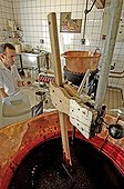 Artisanal manufacture of jam of Climont Ranrupt France 67 ; Filling pots of raspberry