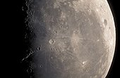 Last quarter of moon seen with a the telescope in France