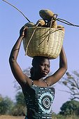 Woman carrying fruit basket of the breadfruit tree Africa