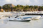 Small fishing boats in front of a tropical beach Mexico ; Province of Yucatan.
