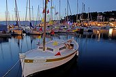 Boats decorated in the port in St Mandrier France ; Celebrates of the St-Pierre, owner of the fishermen