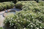 Femme et décors du Jardin de l'Alchimiste à Eygalières ; L'oeuvre au blanc'. Paysagistes : Arnaud Maurières et Eric Ossart. Rosier 'Fée des neiges'