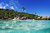 Tropical beach and sea Cousine Island Seychelles ; @ Cousine (Island)
