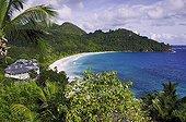 Hotel and tropical beach Mahe Island Seychelles