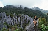 Tourist on Limestone pinnacles Borneo Malaysia