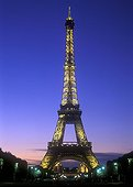 The Eiffel Tower illuminated in the twilight Paris France