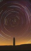 Polar sky rotation on a mount Lozère menhir France