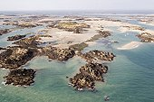 Air shot of Chausey archipelago Normandie France ; The maritime public domain is managed by the Conservatoire du Littoral