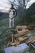 Discovery of hives destroyed by the bear Boutxy France ; Localization: near Ax les thermes, in haute Ariège; june 2000.