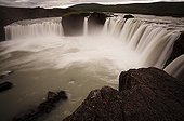 "Overview of the Cascade of Godafoss in Iceland ; This cascade is also named the ""Fall of the gods""."