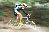 Pass of river in cross-country mountain bike race
