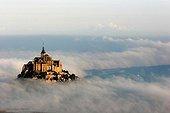 Mont-Saint-Michel in the fog France