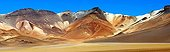 Desert sand in vivid colors of the volcano Bolivia