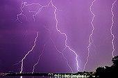 Storm causing lightning on Lake Leman France