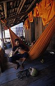 Adolescents cambodgiens dans un hamac et chat Cambodge ; Ville : Siem Reap