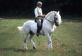 Cavalière montant son cheval avec bride et selle de dressage ; cheval gris origine ibérique