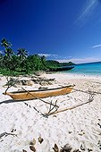 Traditional boat on the sandy beach Oceania