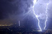 Thriple impact of lightnings on Genève city France ; During a violent storm.