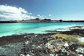 Santiago Island seen from the Sombrero Chino beach Galapagos