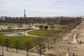 Tuileries garden and Tour Eiffel seen from Louvre Paris