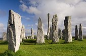 Menhirs Callanish Isle of Lewis Outer Hebrides Scotland UK ; Monoliths drafted in gneiss Lewis, built around 2000 BC.
