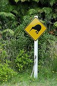Kiwi crossing road sign Stewart island New Zealand