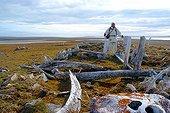 Village paleo eskimo in ruins on Bathurst Island Canada ; <br><br>