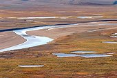 River in the heart of the tundra Bathurst Island Canada ; In the Polar Bear Pass.<br><br>
