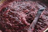 Manufacturing of raspberry jam in a copper vat France ; farm Cholley  in Fougerolles<br>