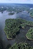 Air shot of the dam of Petit Seau French Guiana