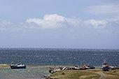 Petit port de pêche au bord du Détroit de Magellan Chili