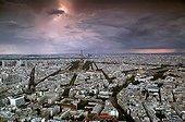 Air shot of Parisunder threatening sky France ; Place : Quarter of Invalidesand Eiffel tower<br>