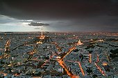 Air shot of Parisunder threatening sky France ; Point of view from the top of the Tour Montparnasse