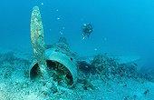 Scuba diver and wreckage of the Nakajima B5N2 Kate bomber ; New Ireland, Kavieng