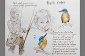 Regard d'Enfant et Martin-pêcheurs  aquarelle et encre ; @ Réalisme