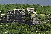 Ermitage on the edge of a cliff Southern Ardèche France