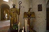 Statue and desk in the Tournus Abbey Bourgogne France