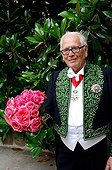 Pierre Cardin and Rose created by Meilland in June 2008 ; The rose was created for the academician to the days of the pink Royal Abbey Chaalis (Oise)