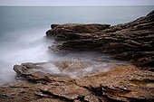 Quiberon reefs and waves at the end of the day France