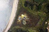 Swampy hole on the Godec Island coast France